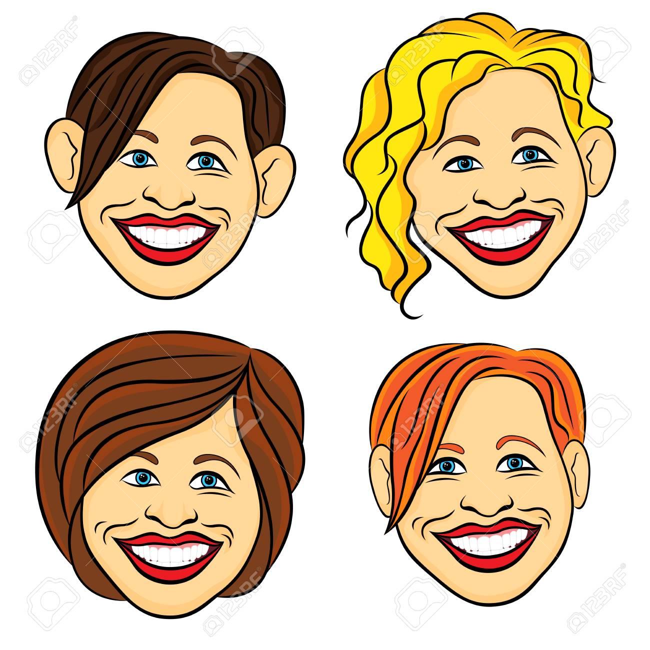 面白いしかめっ面で女性の顔を笑いながら 4 手の白い背景に分離された