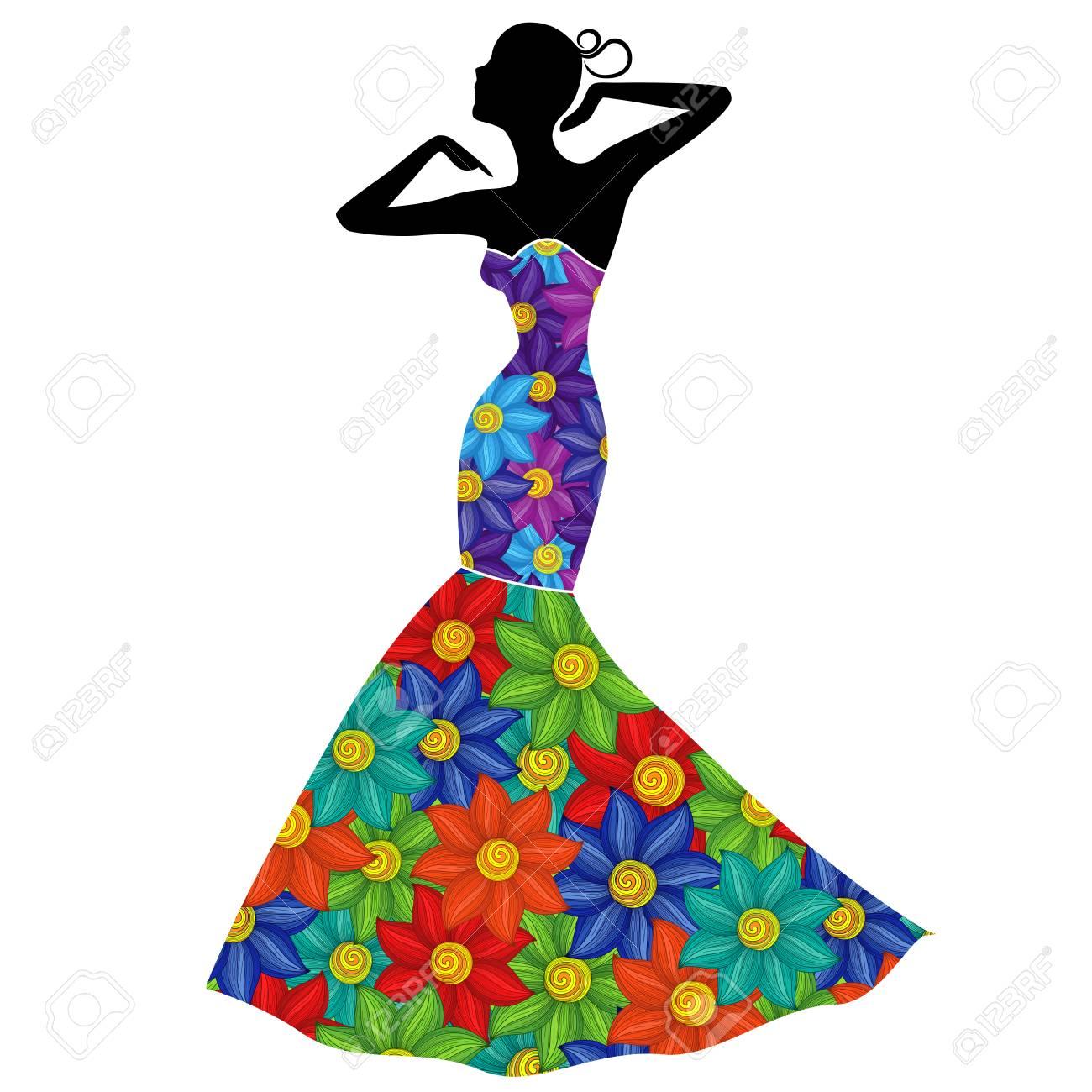 Belle Dame Gracieuse En Robe Longue Avec Des Fleurs Colorees Clip Art Libres De Droits Vecteurs Et Illustration Image 96683635