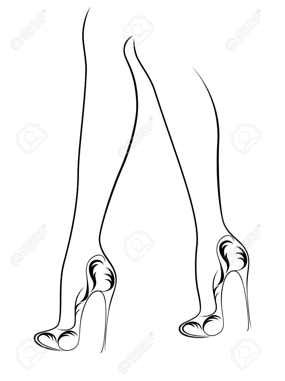 Sketching Outline Of Graceful Female Feet In Elegant Shoes With