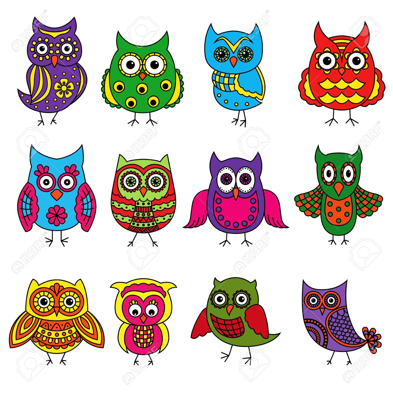 - Set Of Twelve Cartoon Colorful Owls With Various Patterns Isolated
