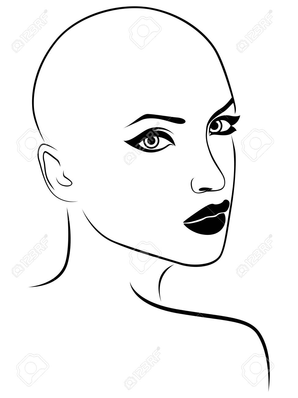 Outline face of charming and attractive woman, black isolated on the white background - 146016472