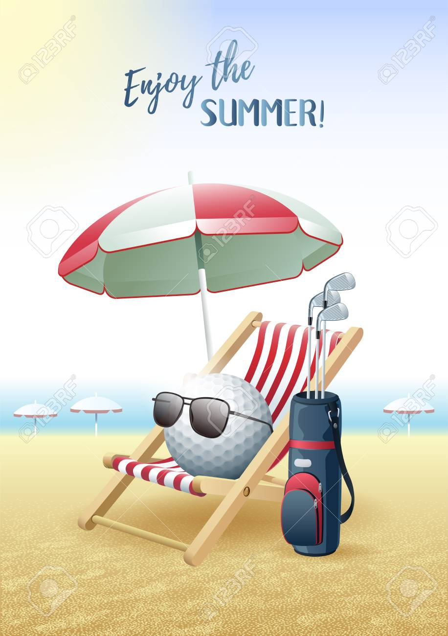 ea052357367 Vector illustration. Enjoy the Summer! Sports card. Golf ball with  sunglasses