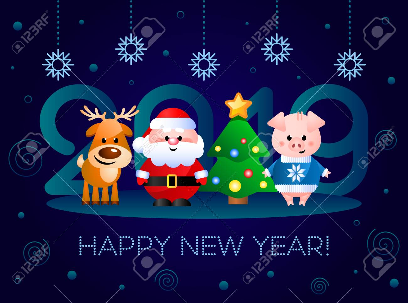 happy new year 2019 greeting card with cute cartoon characters vector illustration stock