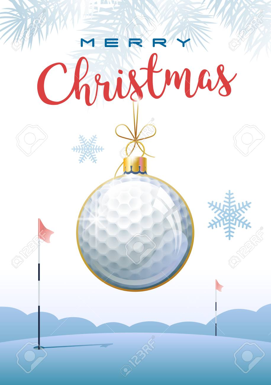Merry Christmas. Sports greeting card. Realistic golf ball in the shape of a christmas ball. Vector illustration. - 104277260