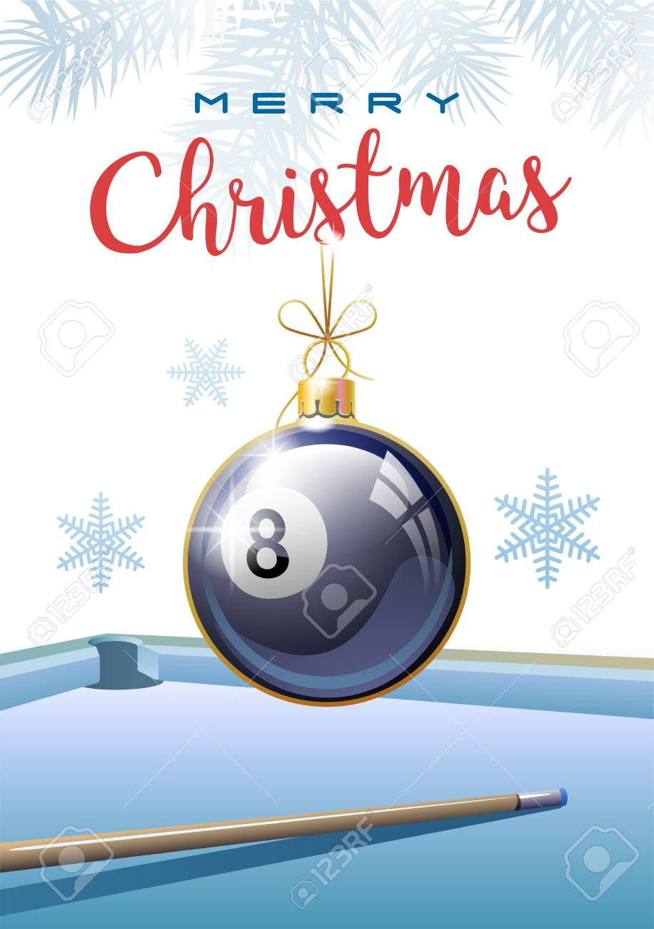 Merry Christmas. Sports greeting card. Realistic Billiard ball in the shape of a Christmas ball. Vector illustration. - 104460336