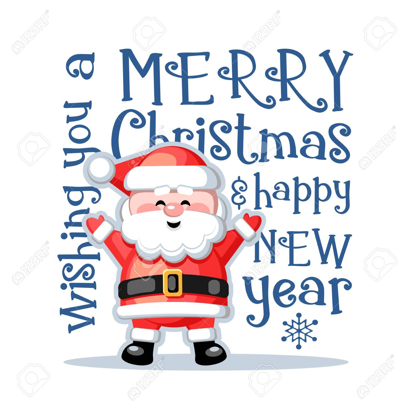 Funny Merry Christmas.Merry Christmas And Happy New Year Greeting Card With Funny