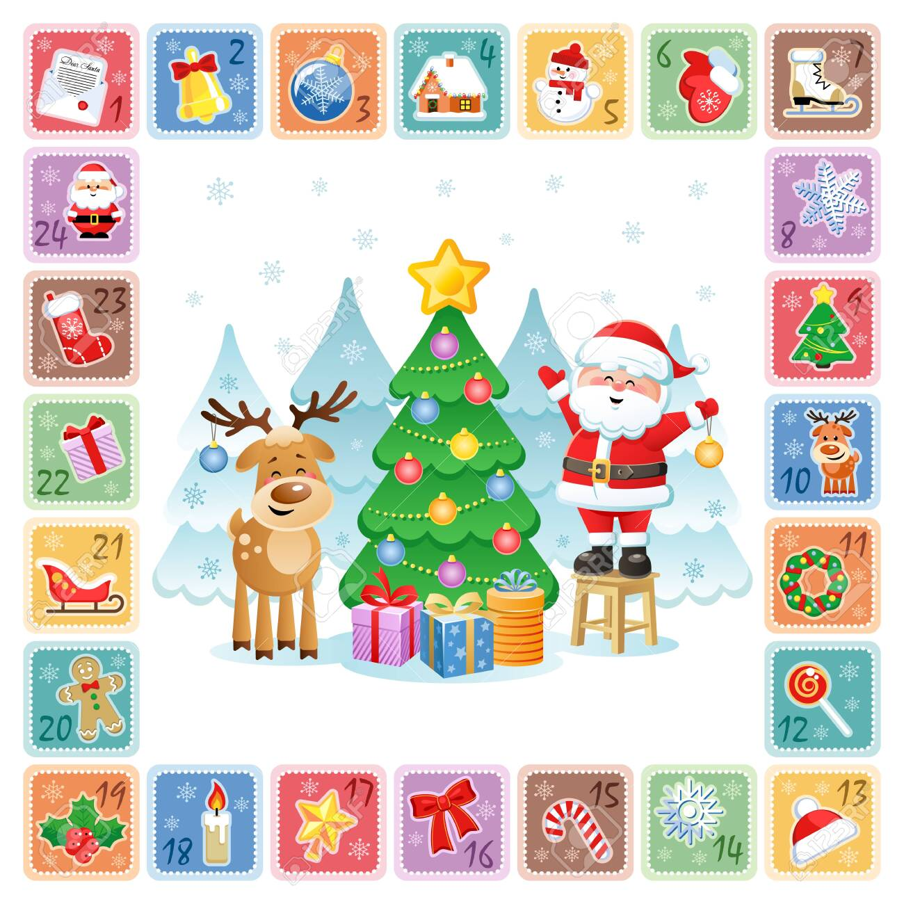 Christmas Countdown Calendar.Christmas Countdown Advent Calendar With Christmas Decorative