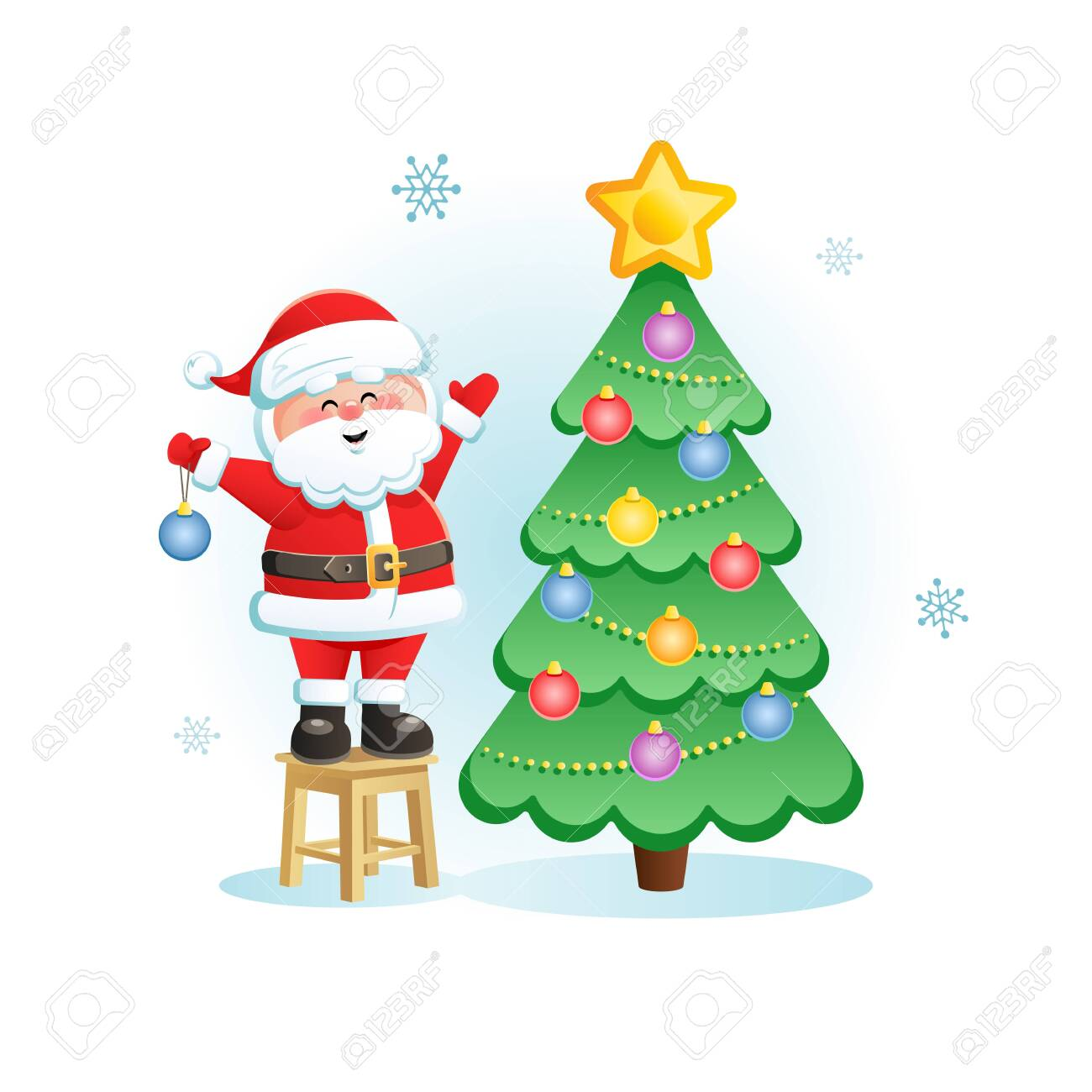 merry santa claus with christmas tree cute christmas cartoon royalty free cliparts vectors and stock illustration image 128857531 123rf com
