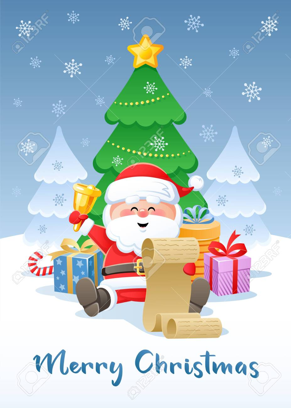Merry Christmas Funny Images.Merry Christmas Greeting Card With Funny Santa Claus Flat Design