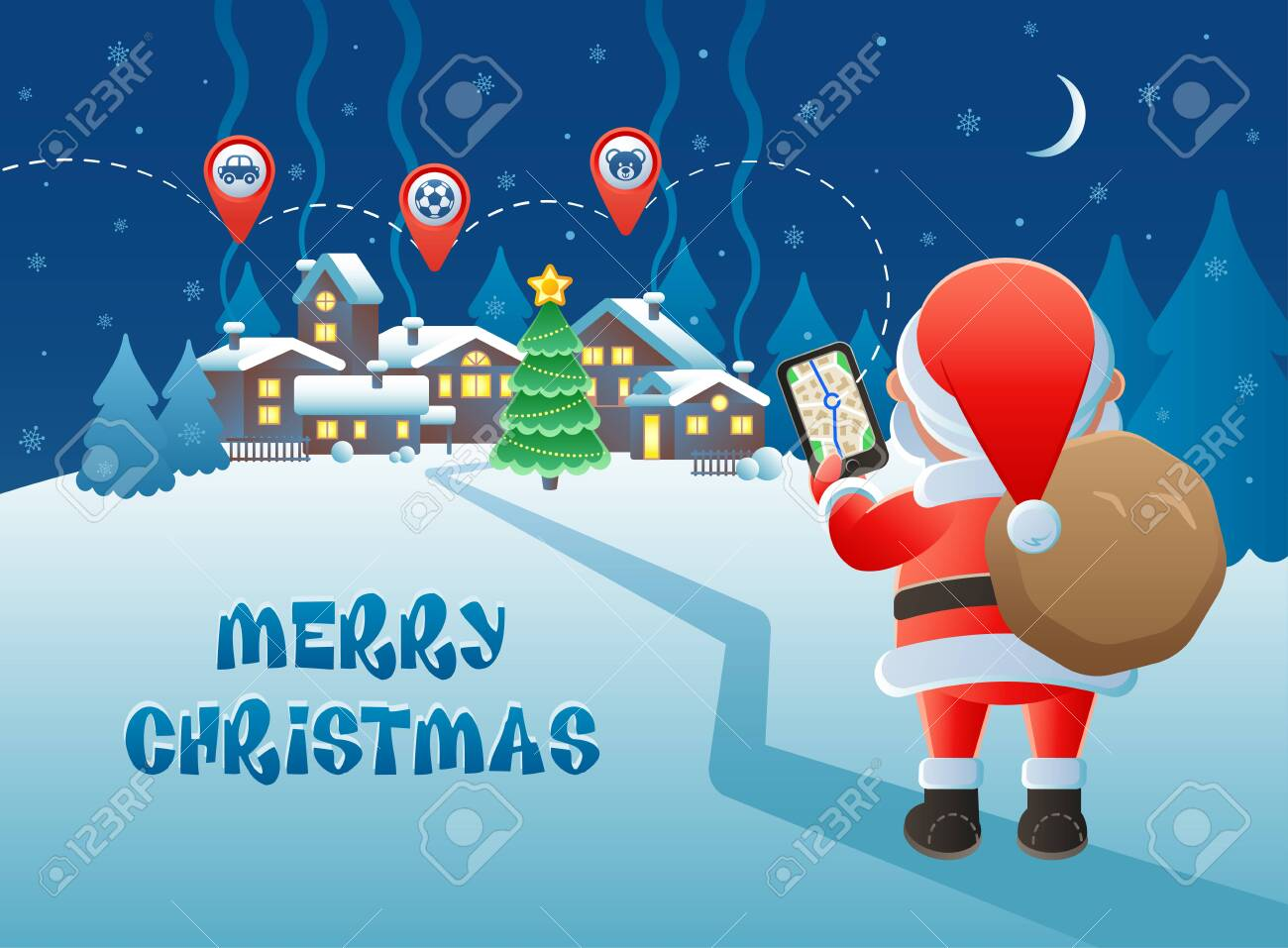 Merry Christmas. Cute Santa Claus with GPS navigation and map.. on oolitic map, oats map, tell city map, gulf of antalya on a map, headless horseman map, splashin safari map, santa and his reindeer, north pole map, track santa map, christmas map,