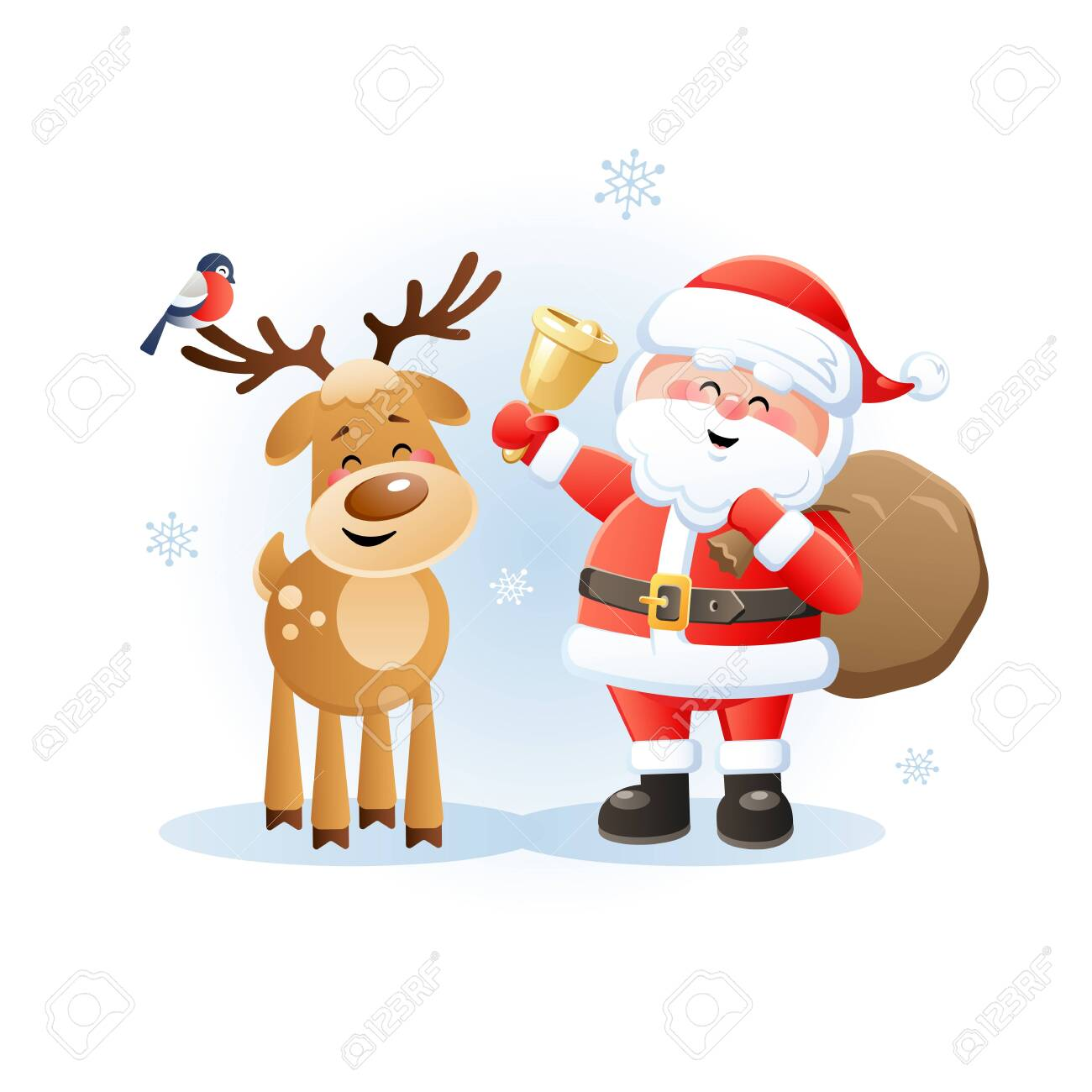 Cute Christmas Pictures.Merry Santa Claus With Reindeer And Bullfinch Cute Christmas