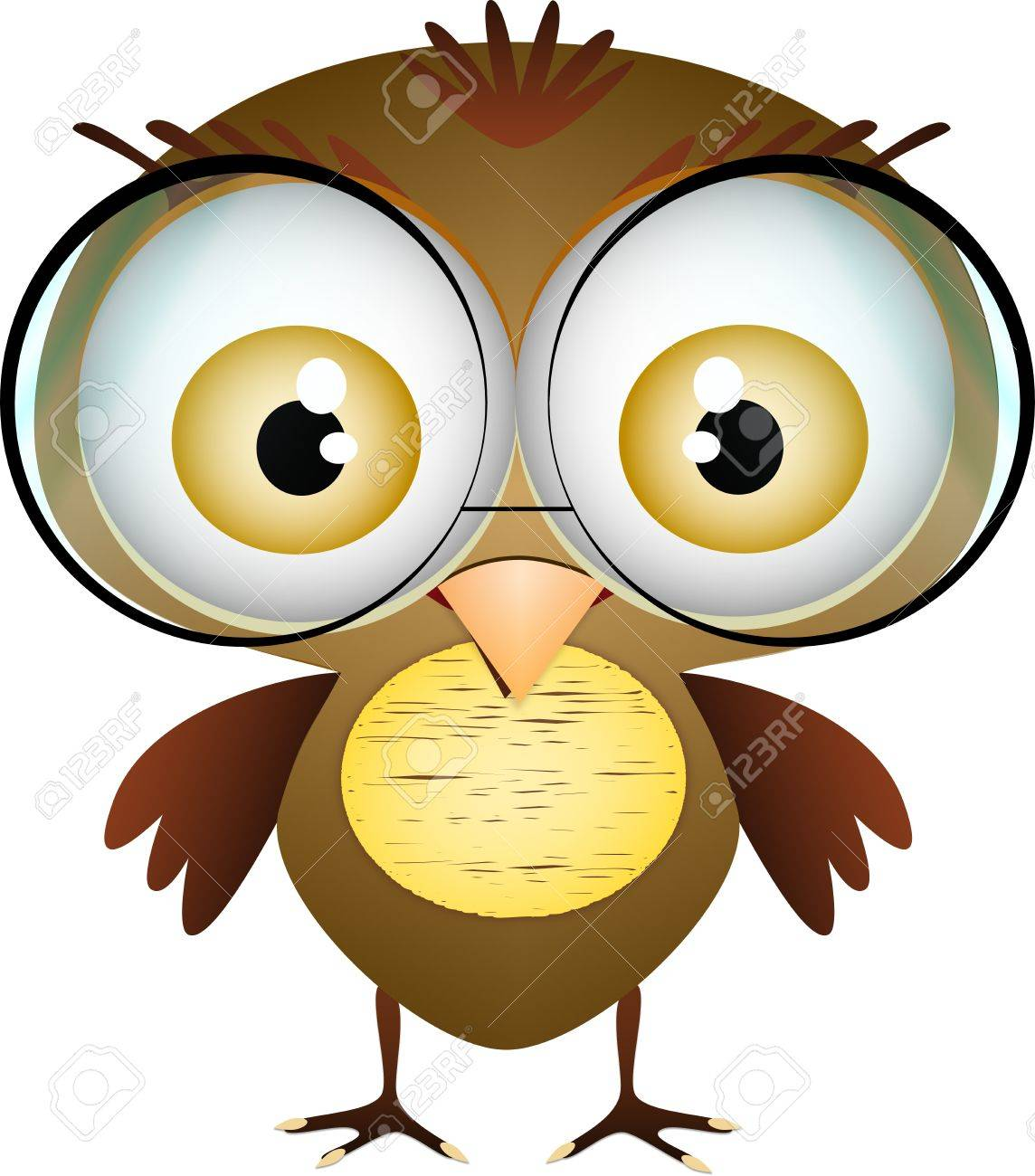 little cute bird with glasses on white background Stock Vector - 14698439