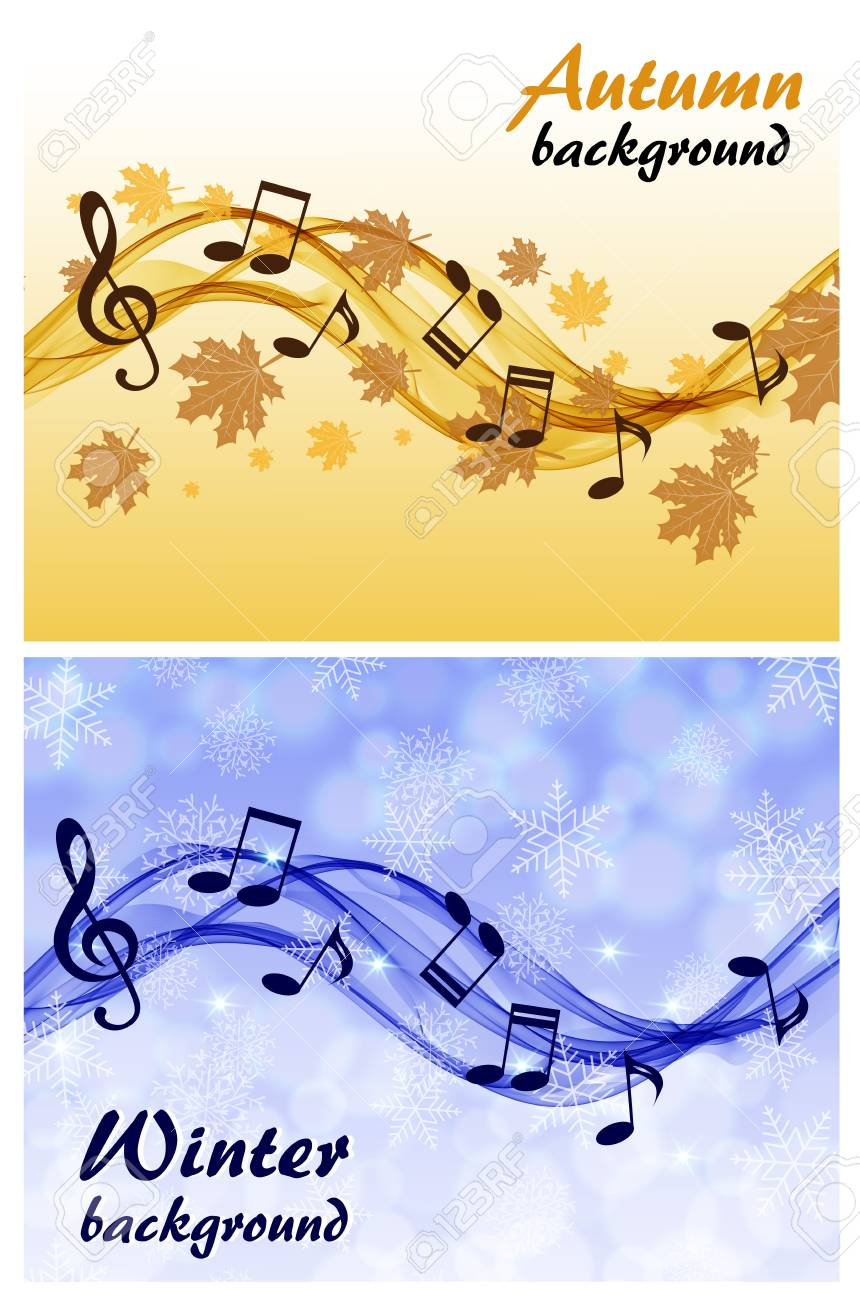 Abstract winter and autumn background with music notes and a abstract winter and autumn background with music notes and a treble clef stock vector 74714832 voltagebd Images