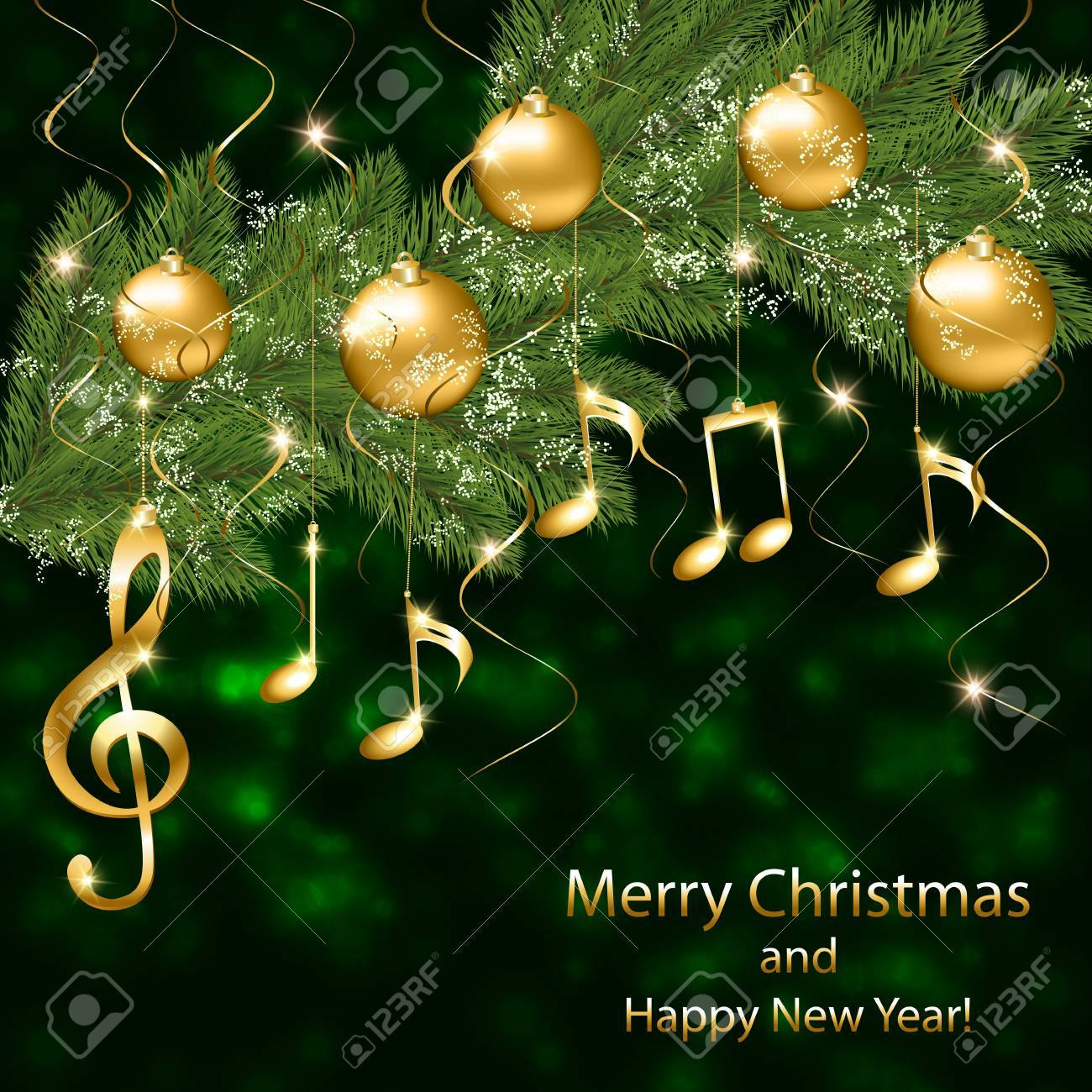 abstract new year background with musical notes and treble clef on a christmas tree branch stock