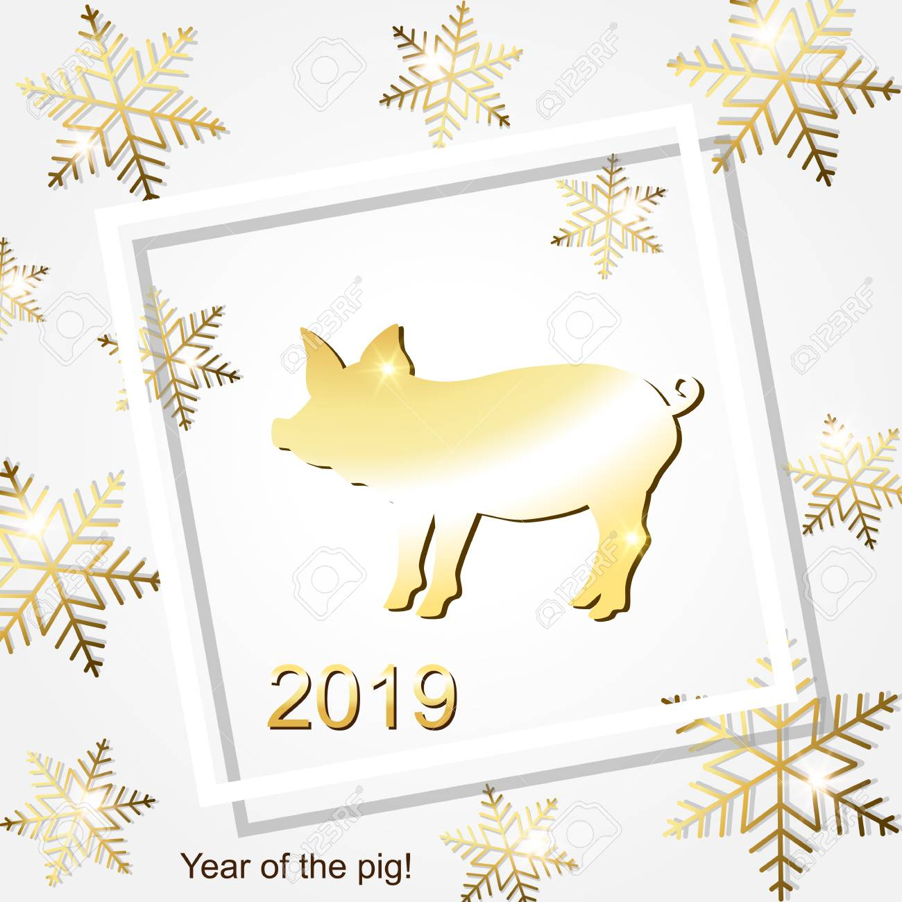 Greeting Cards With A Christmas And A New Year Of The Pig Royalty ...