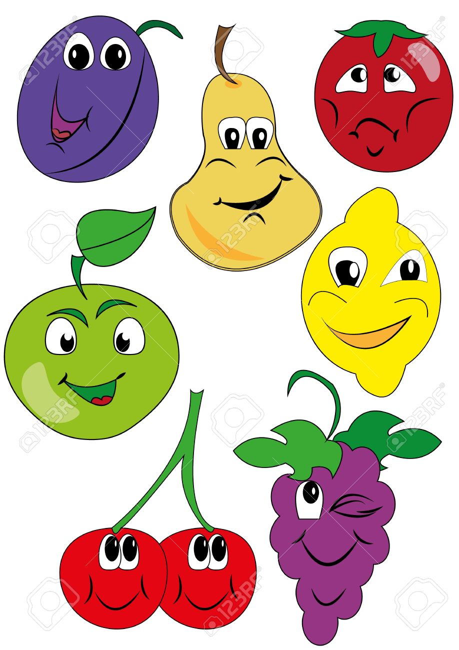 Fruit Pictures Drawing Vector Drawing Funny Fruit