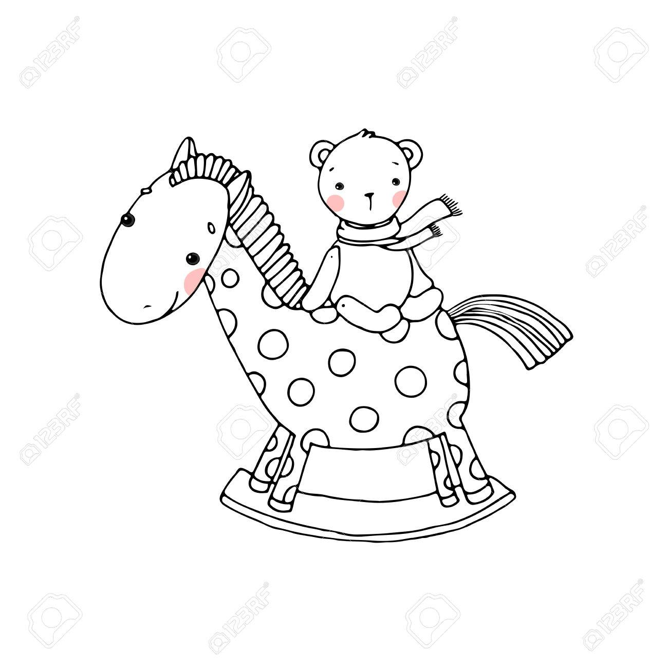 Horse And Bear Kids Toys Hand Drawn Vector Illustration On Royalty Free Cliparts Vectors And Stock Illustration Image 58911056
