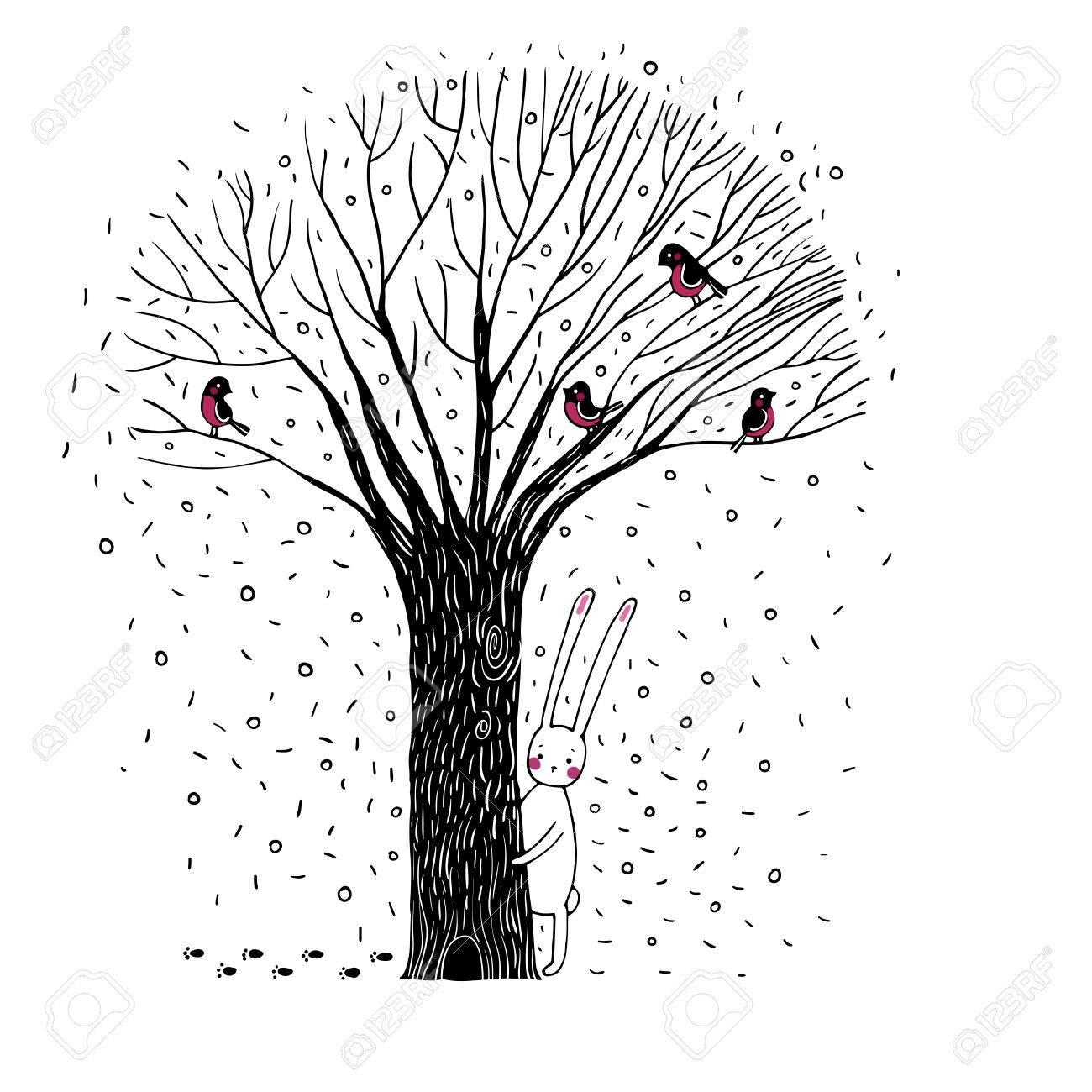 Beautiful Trees Birds And Rabbit Winter Hand Drawn Vector