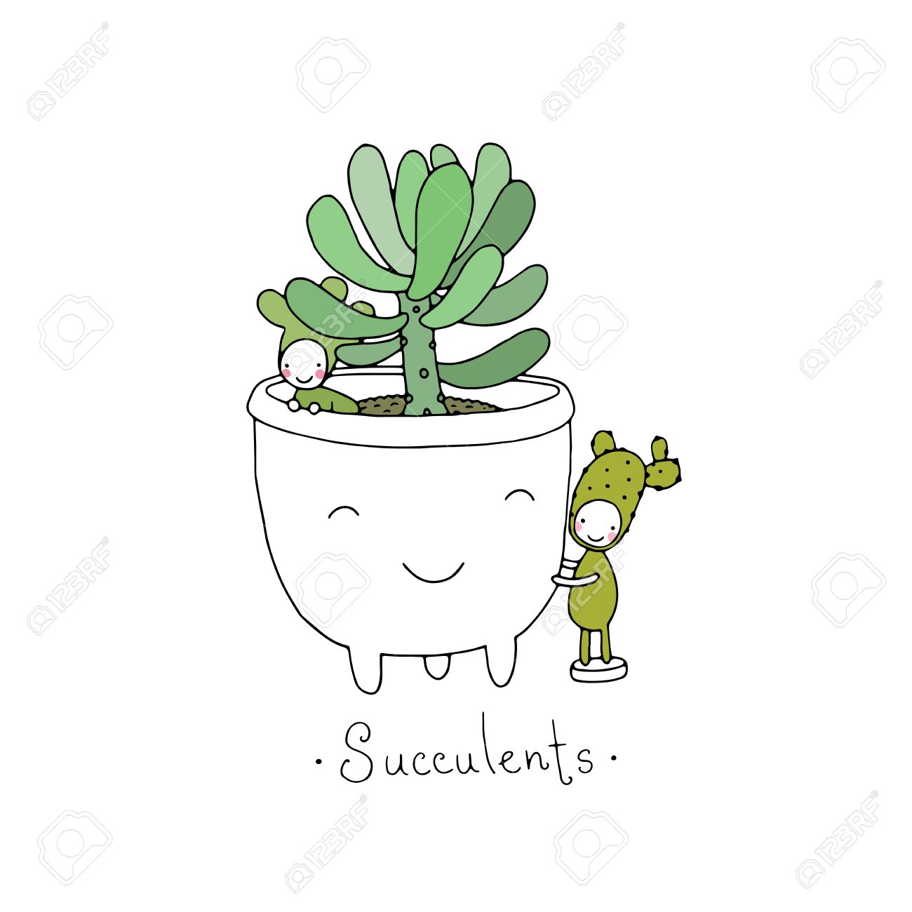 cartoon cute succulents in pot little fairyhand drawing isolated objects on white background