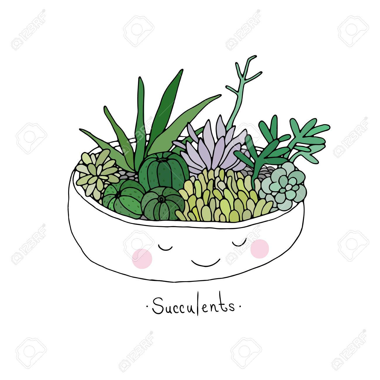 cartoon cute succulents in pot hand drawing isolated objects on white background vector illustration