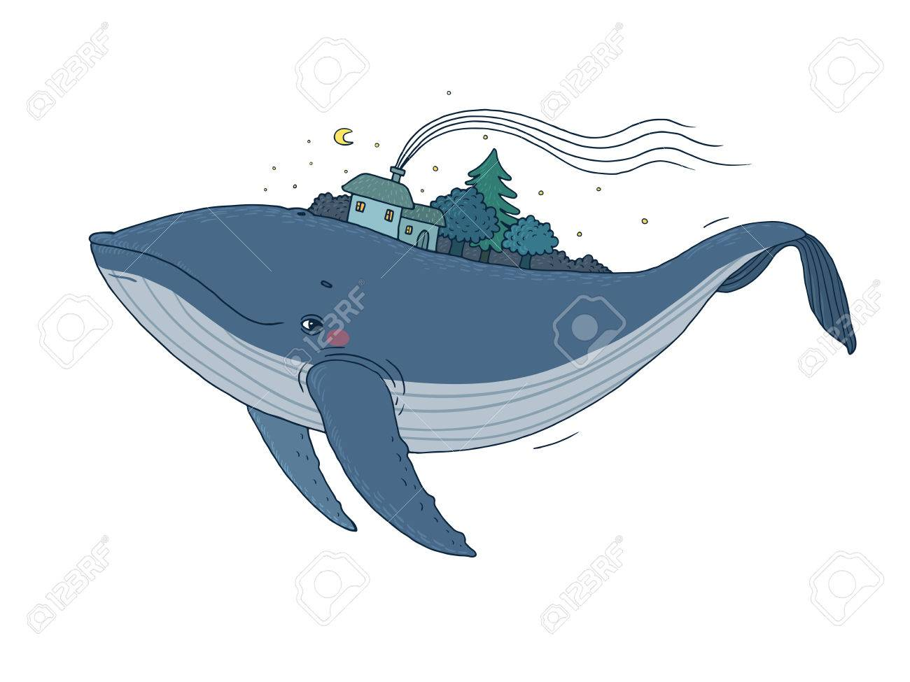 Coloriage Queue De Baleine.Big Belle Baleine Avec Des Maisons Et Des Arbres Dans Le Dos Dessin