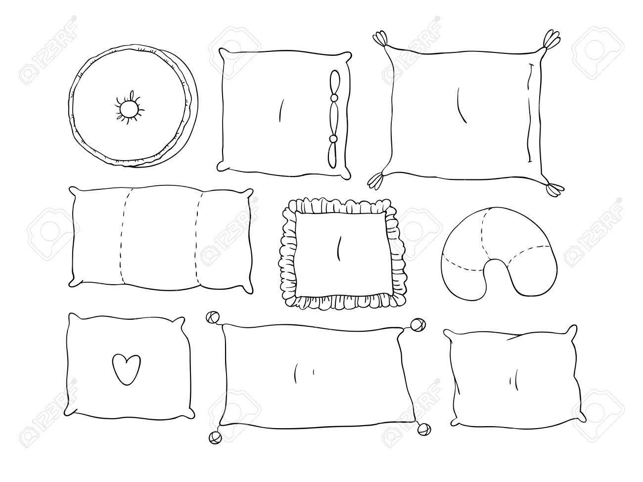 Tipos De Almohadas Para Dormir Conjunto Dibujo A Mano Aislado Objetos Sobre Fondo Blanco Ilustración Del Vector