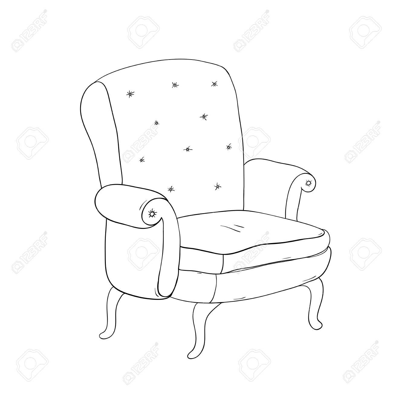 Schöner Vintage Brauner Stuhl Handzeichnung Isoliert Objekte Auf