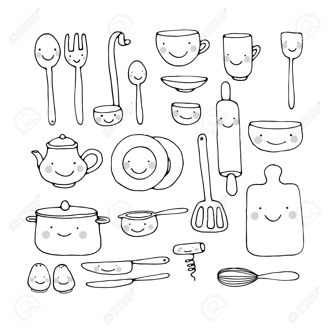 A Set Of Kitchen Utensils. Hand Drawing Isolated Objects On White ...