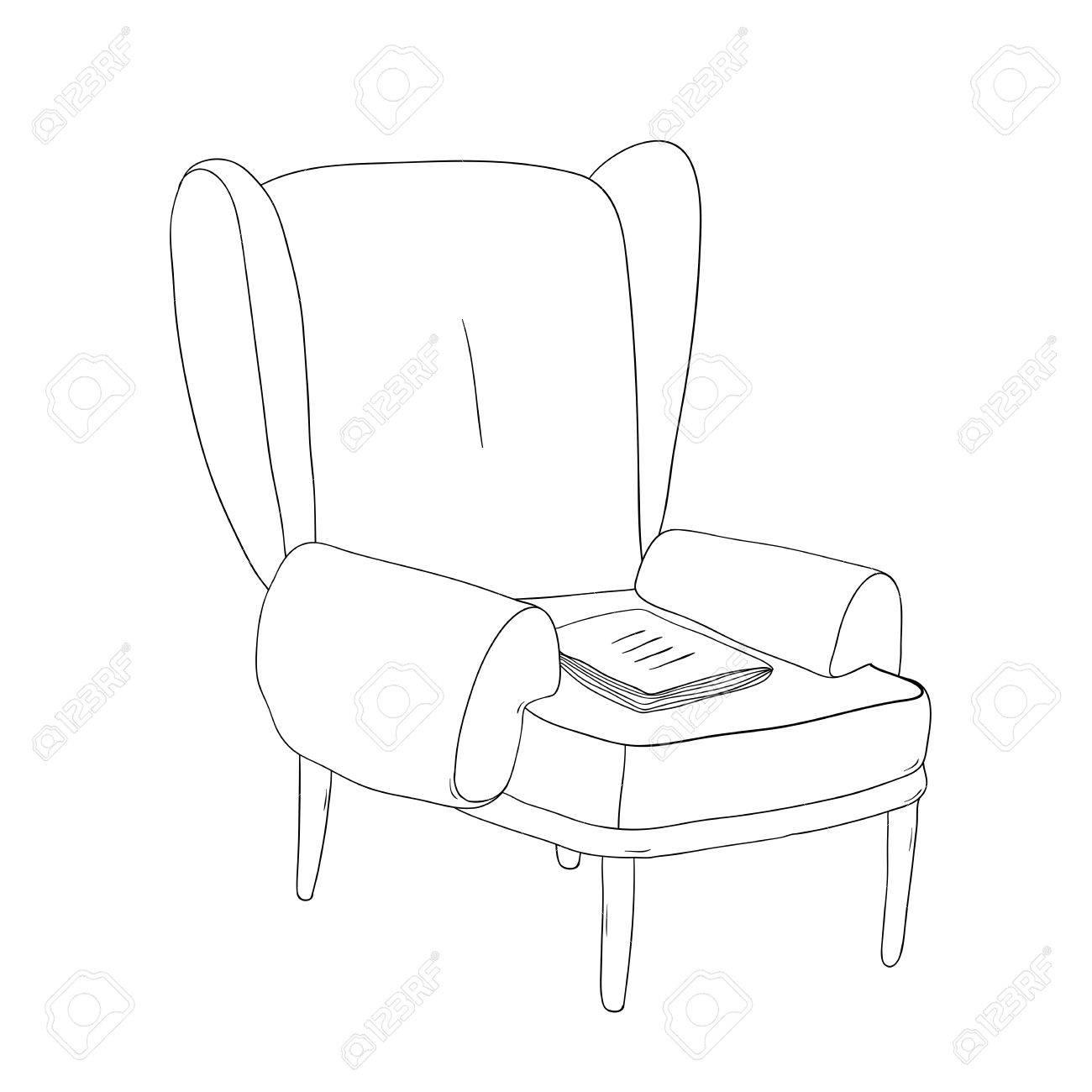 Belle Chaise Vintage Et Ordinateur Portable Dessin A La Main Des