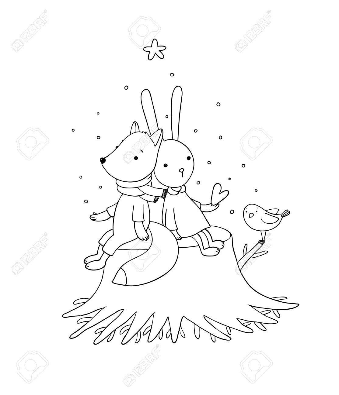 Fox Le Lapin Et Loiseau Assis Sur Une Souche Darbre Les Animaux