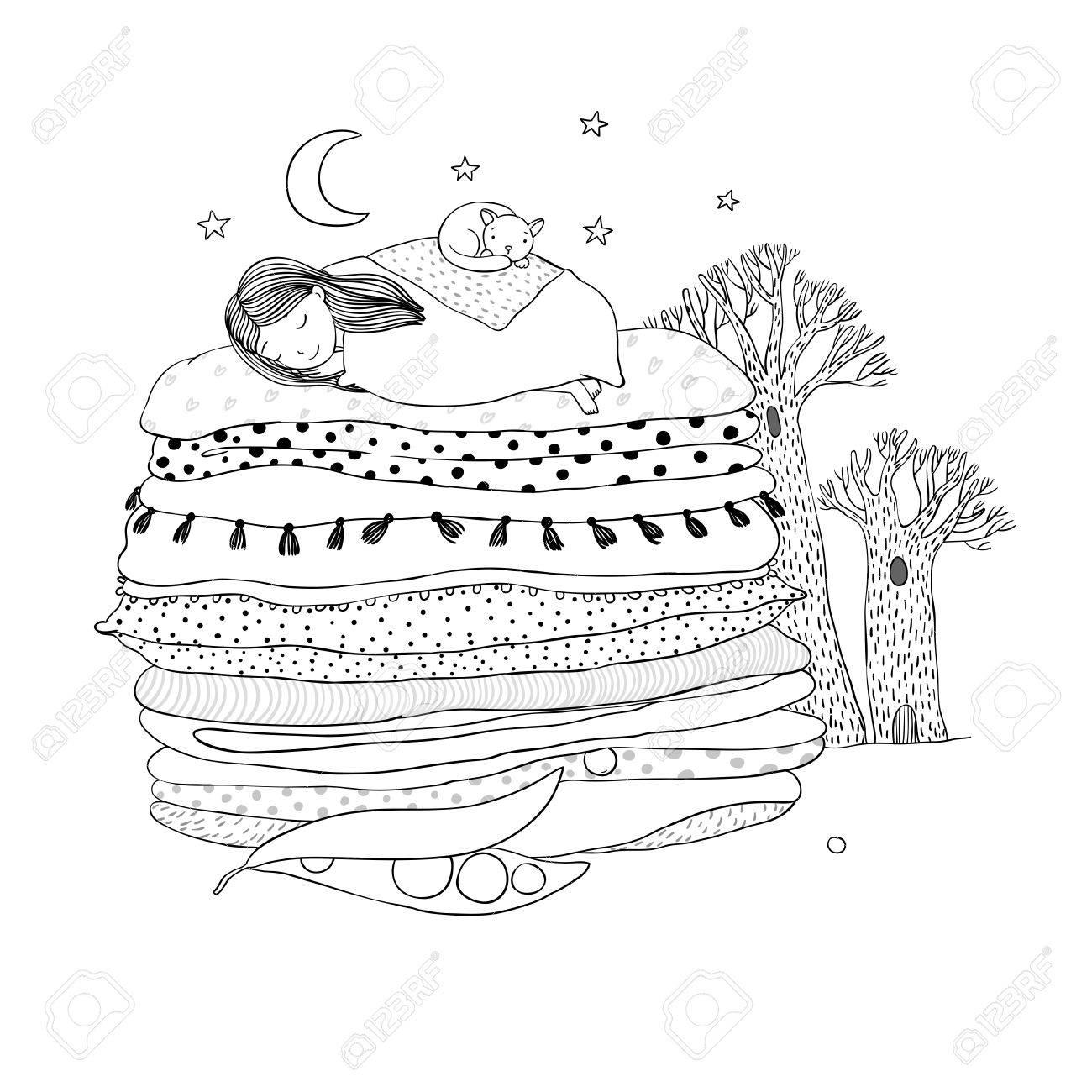Princesse Au Petit Pois Les Couvertures Et Les Oreillers Dessin à La Main Des Objets Sur Fond Blanc Isolé Vector Illustration Livre De Coloriage