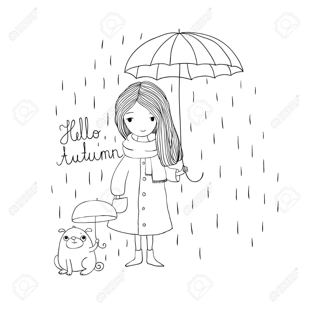 Coloriage Petite Fille Parapluie.Belle Petite Fille Et Un Roquet Mignon De Bande Dessinee Sous Un Parapluie Theme De L Automne Dessin A La Main Des Objets Sur Fond Blanc Isole