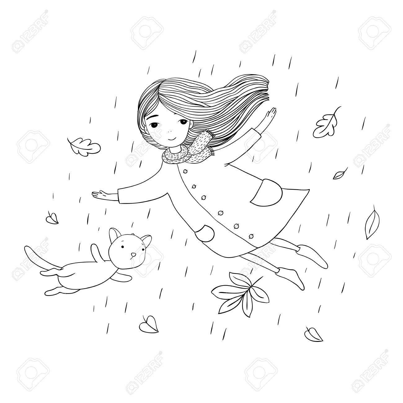 Coloriage Chat Volant.Belle Petite Fille Et Un Chat Mignon De Bande Dessinee Volant Avec