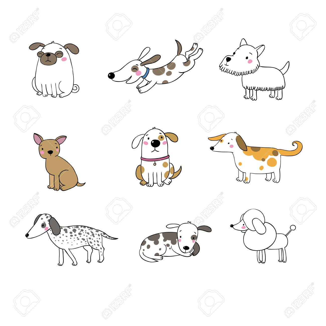 Set Of Funny Cartoon Dogs Hand Drawing Isolated Objects On White