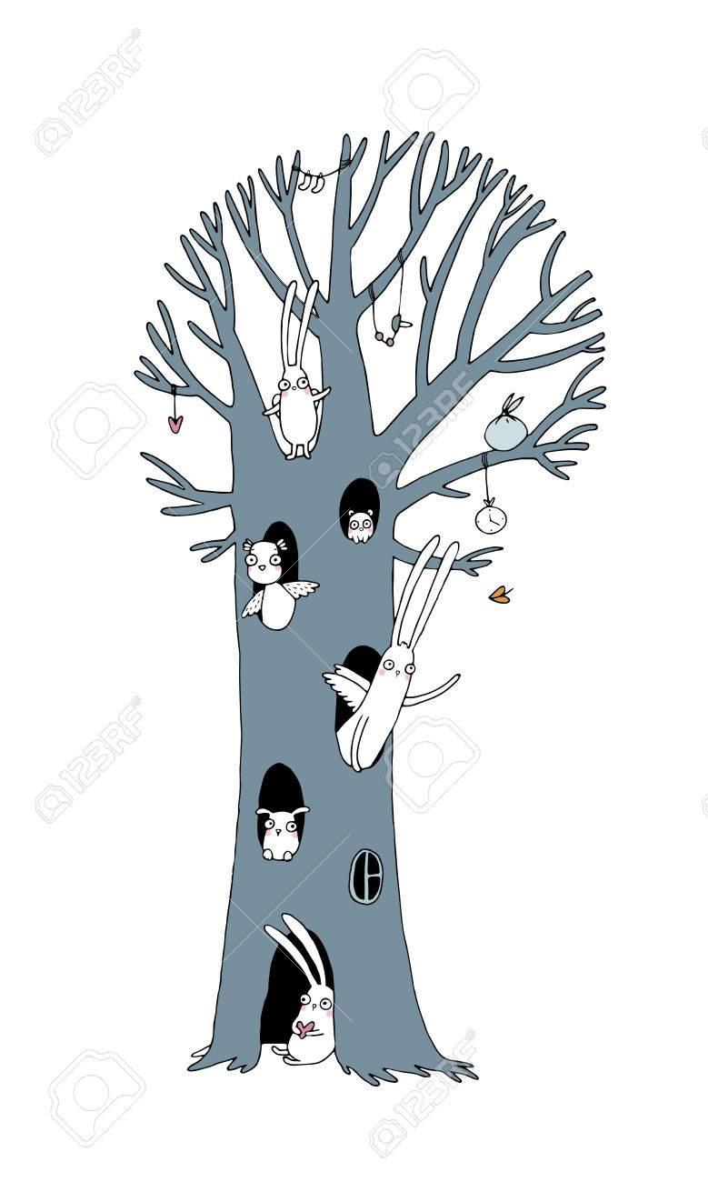 Magic Tree Konijnen Uil Hond En Muis Winterlandschap Vector