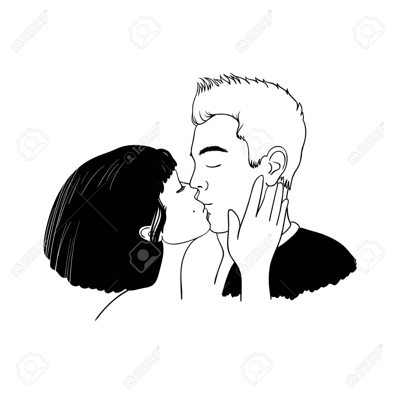 Couple Amoureux Romantique Baiser Main Dessiner Des Objets Isolés Sur Fond Blanc Illustration Vectorielle