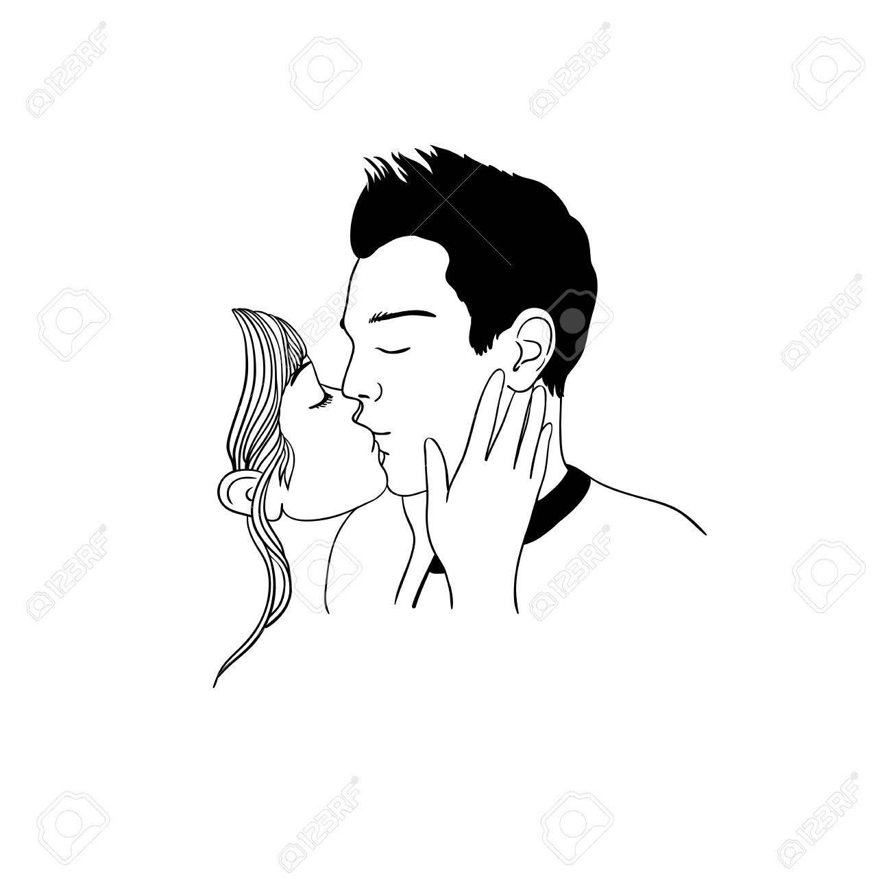 Baiser Romantique De Couple D Amoureux Dessin A La Main Des Objets