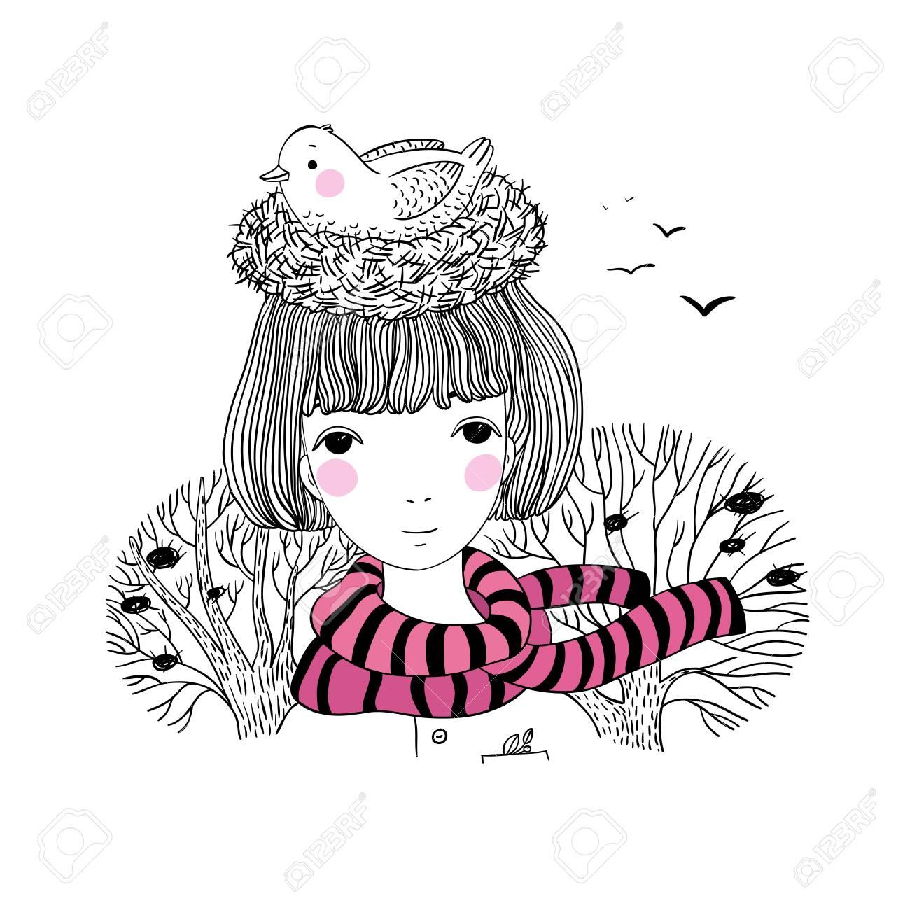 Belle Jeune Fille Et Un Oiseau Dans Un Nid Dessin à La Main Dobjets Isolés Sur Fond Blanc Illustration Vectorielle Thème Dautomne