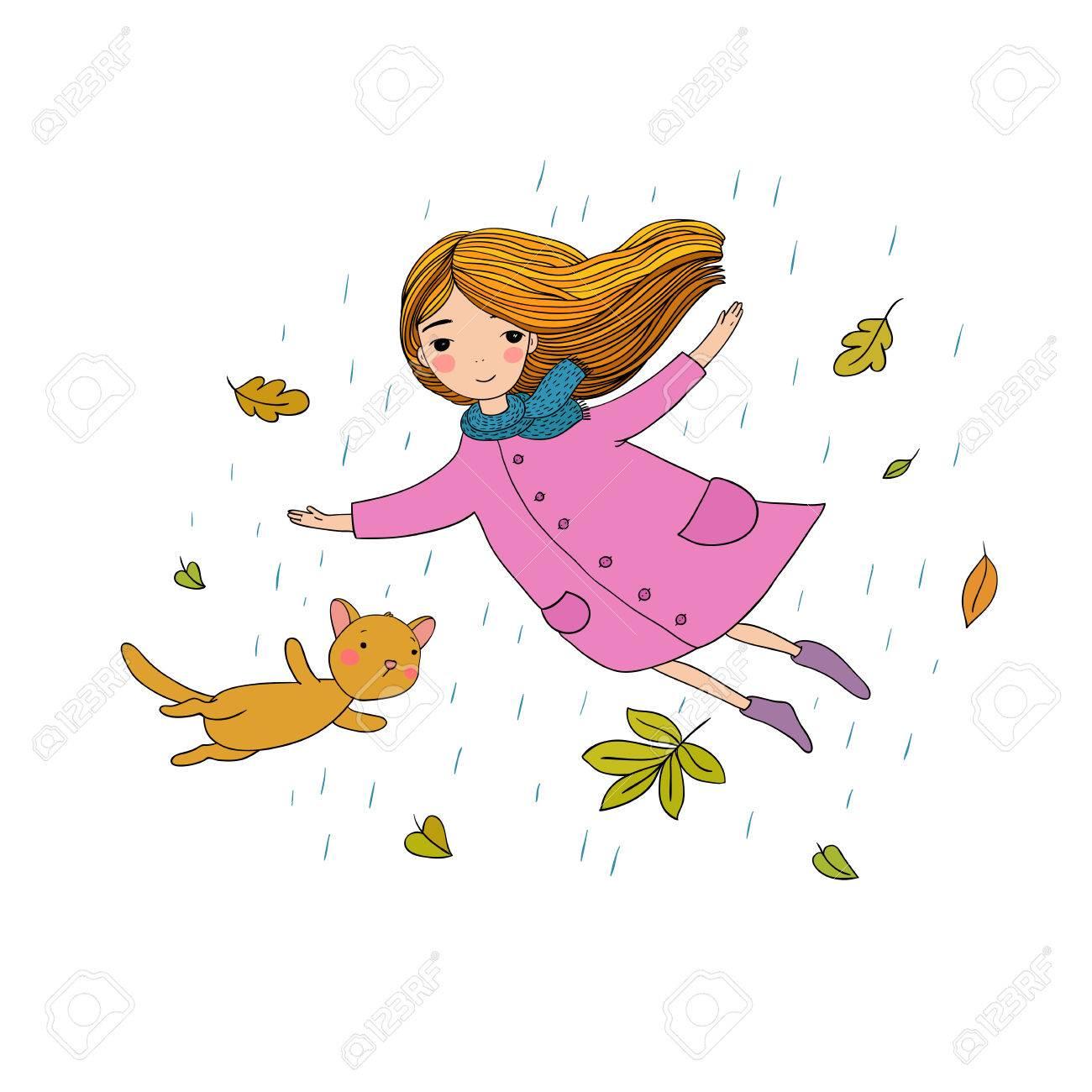 美しい小さな女の子と秋の紅葉を飛んでかわいい漫画猫手に白い背景の