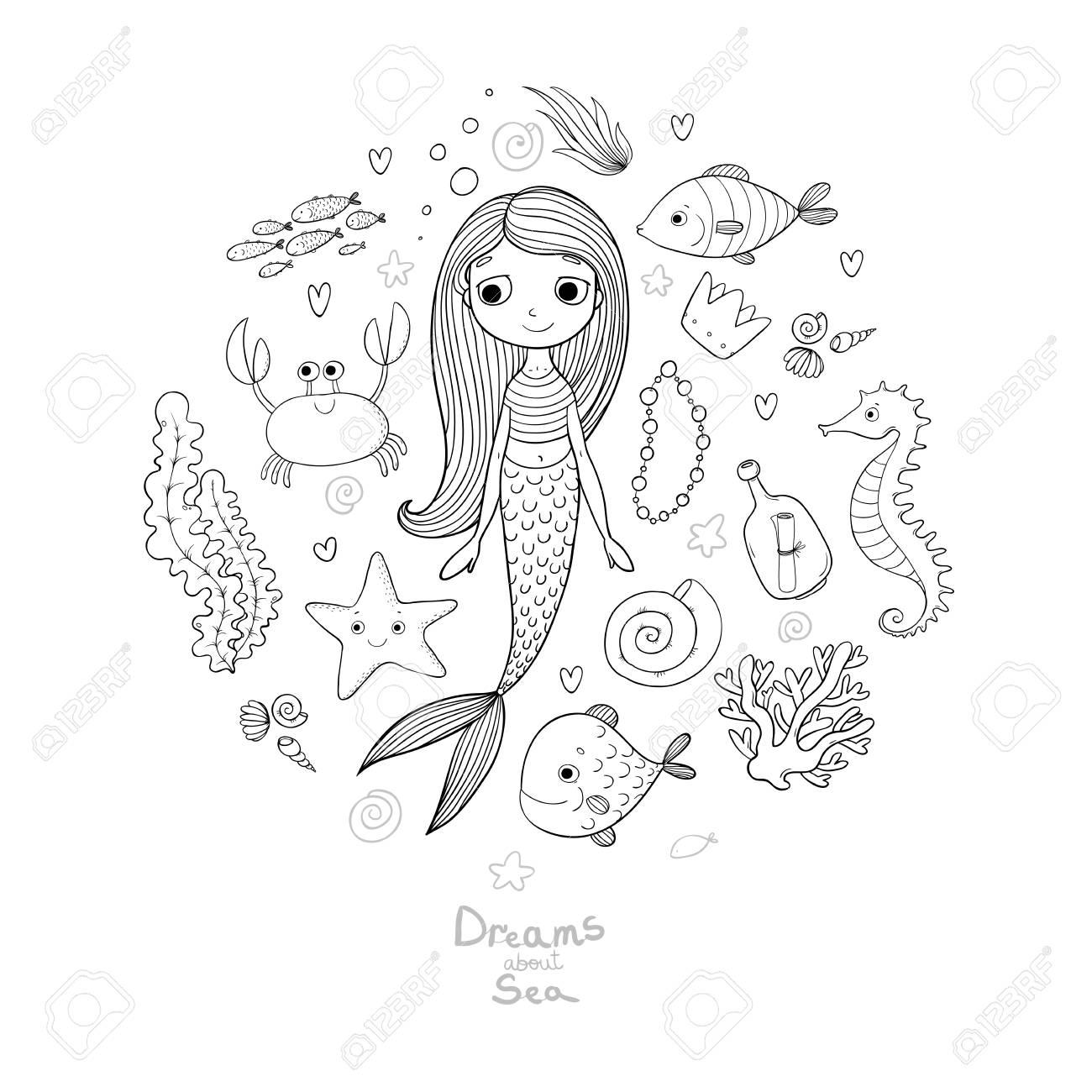 Ilustraciones Marinos Establecen. Pequeña Sirena Linda Del Dibujo ...