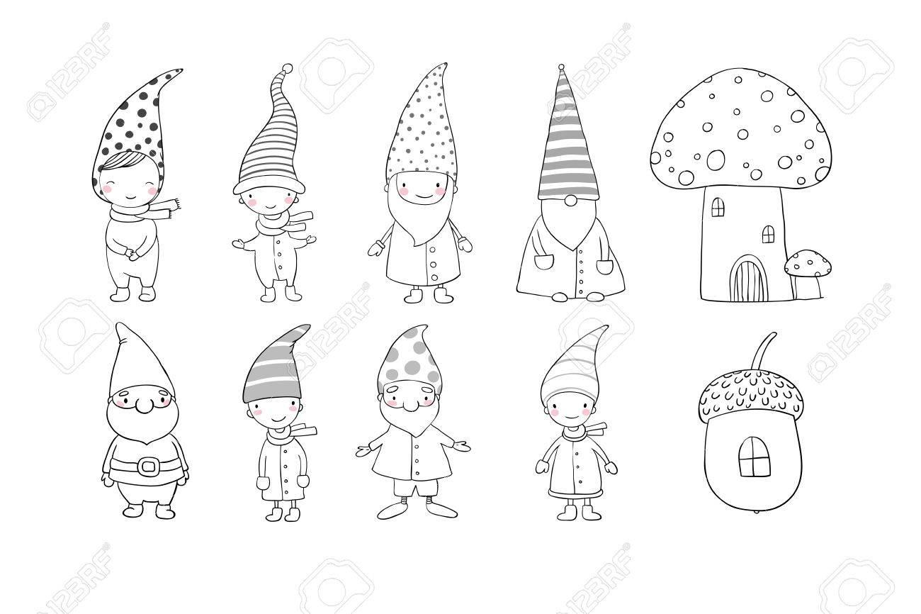 Coloriage Bebe Elfes.Ensemble De Gnomes Mignons De Bande Dessinee Elfes Droles Dessin A