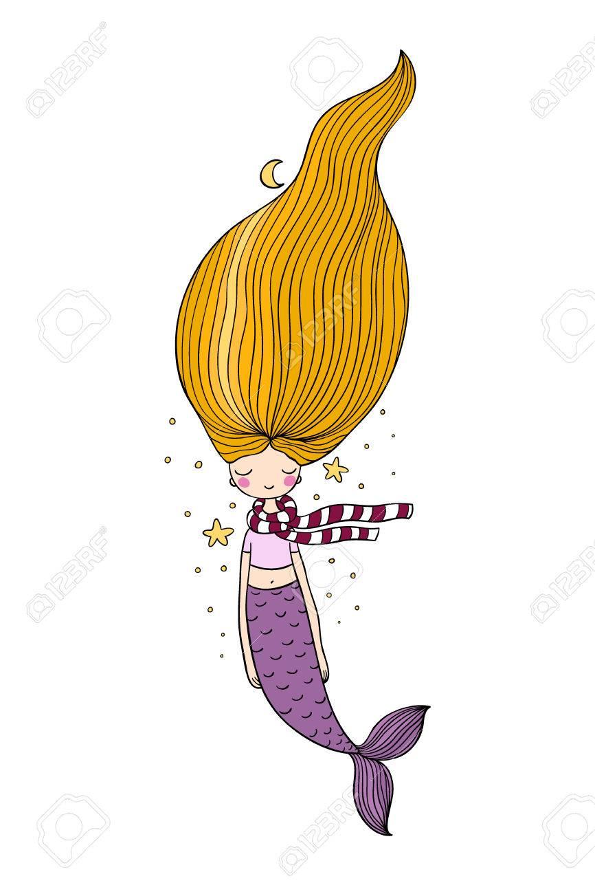 Belle Jolie Sirene De Dessin Anime Aux Cheveux Longs Sirene