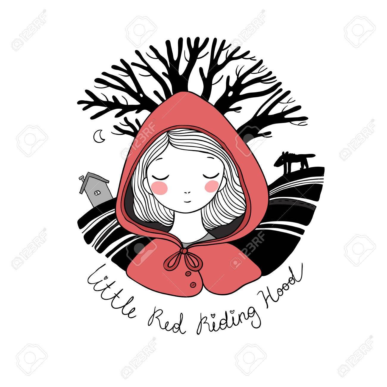 A cute little girl. Red Riding Hood fairy tale. - 80559721