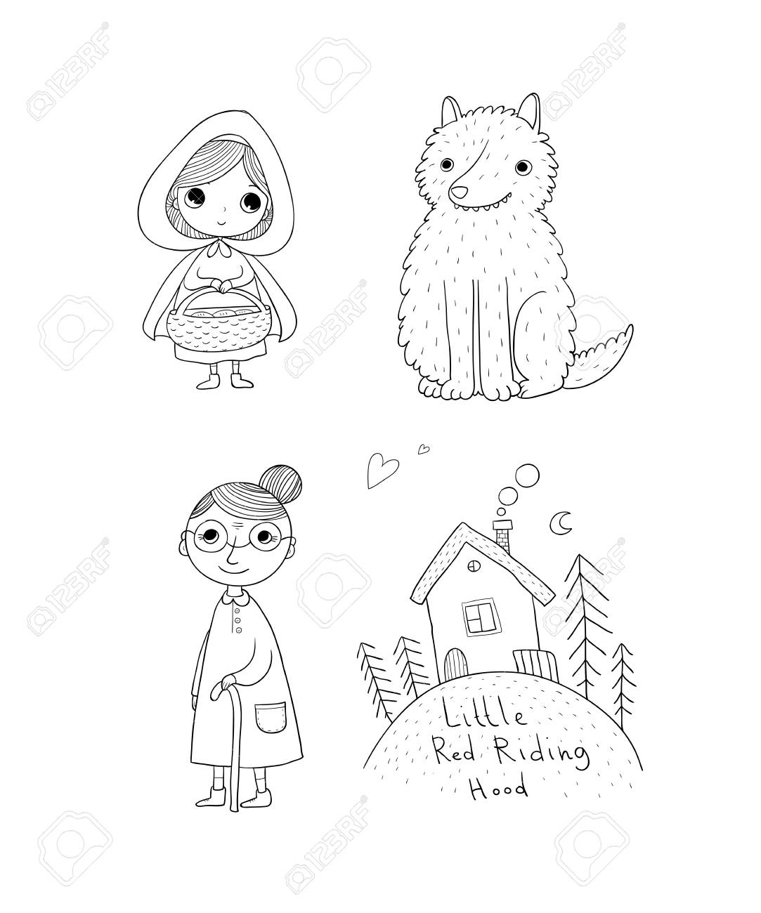 Little Red Riding Hood fairy tale. Little cute girl, wolf, grandmother and house. Hand drawing isolated objects on white background. Vector illustration. - 104169467