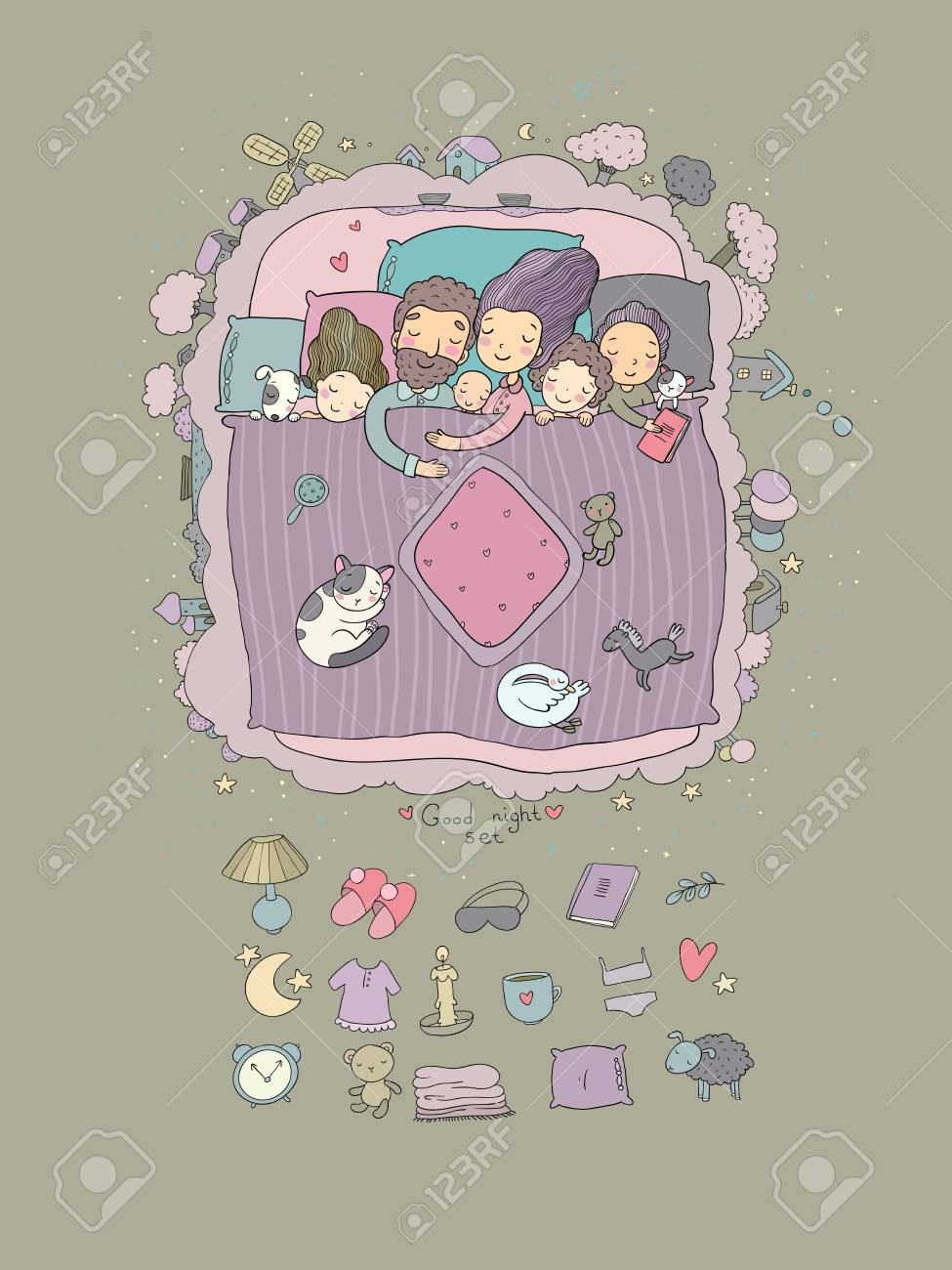 06e4b5bfbd The Family Sleeps In Bed. Cartoon Mom
