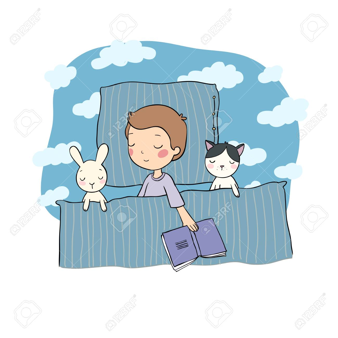 Sleeping boy. Baby in bed with toys. Time to sleep. Good night. Vector - 118916204