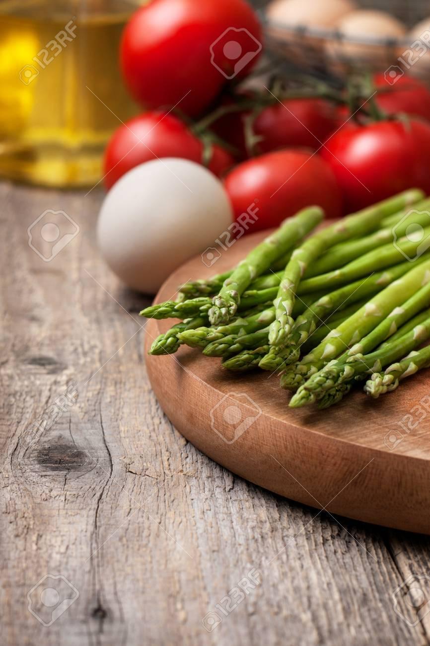 Zutaten Für Das Kochen Gesundes Diät Frühstück Frischer Spargel