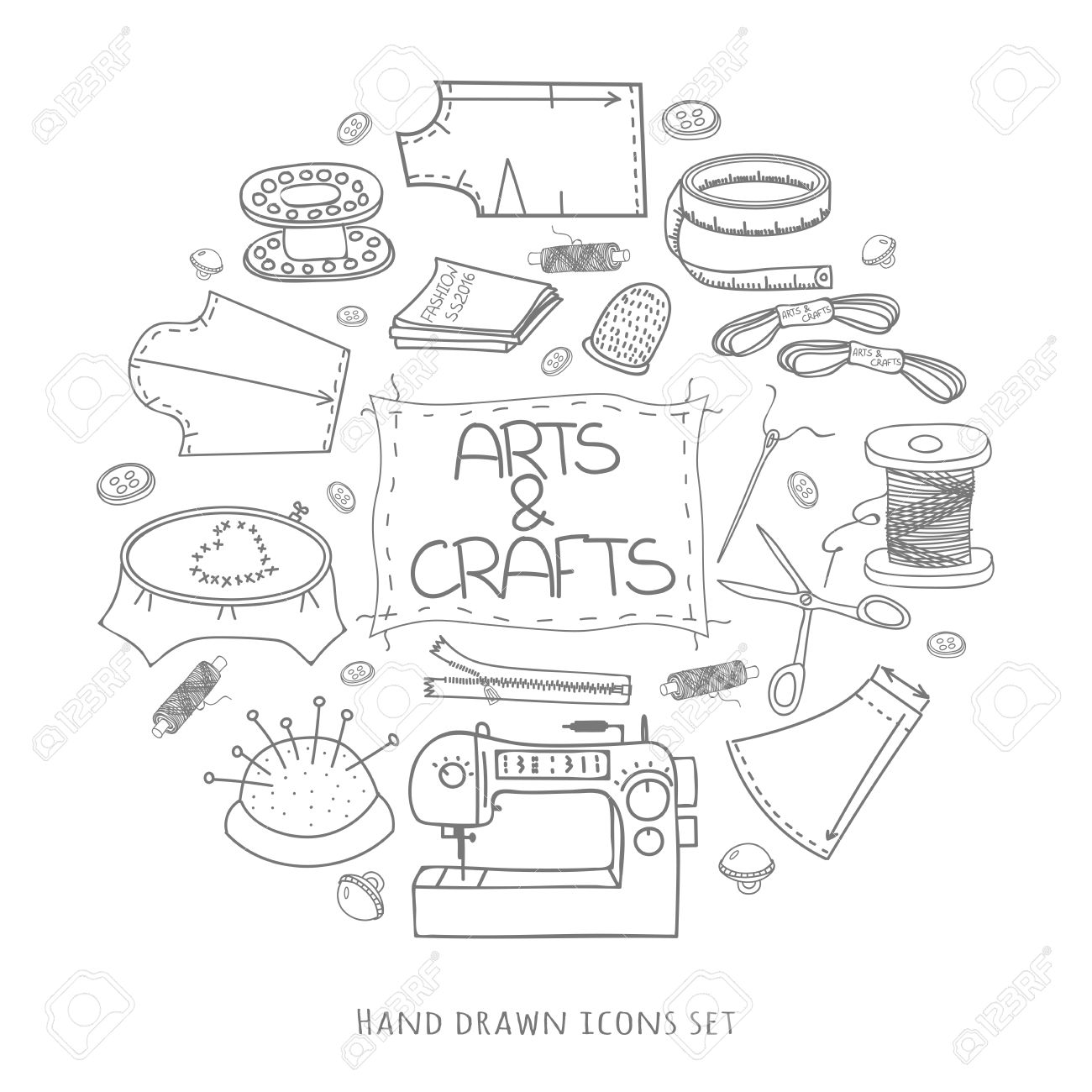 Hand Drawn Vector Sewing Set Doodle Collection Illustration Made Craft Supplies And