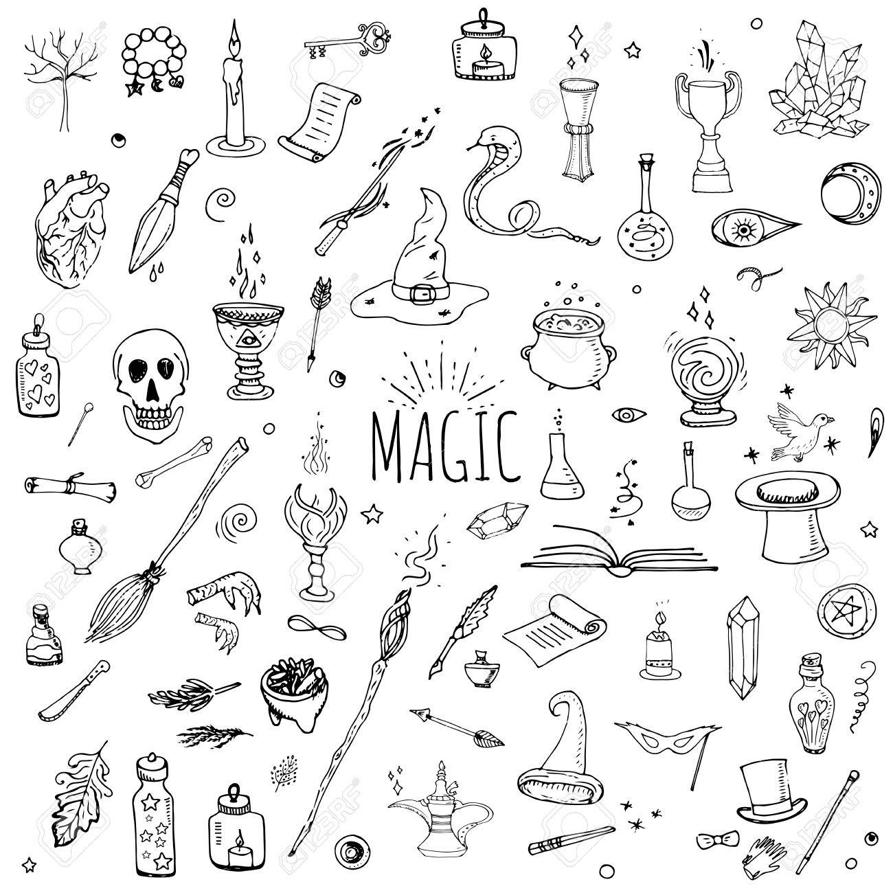 Witch craft symbols gallery symbol and sign ideas hand drawn doodle magic set vector illustration wizardy hand drawn doodle magic set vector illustration wizardy buycottarizona