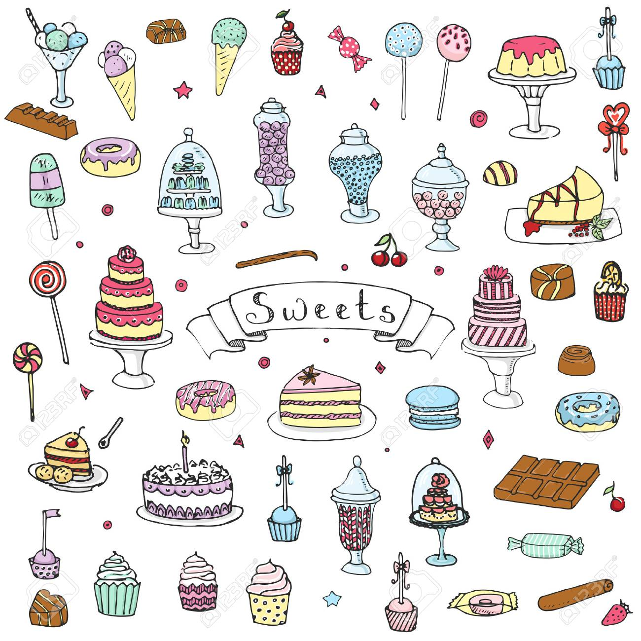 Hand drawn doodle Sweets set Vector illustration Sketchy Sweet food icons collection - 54971907